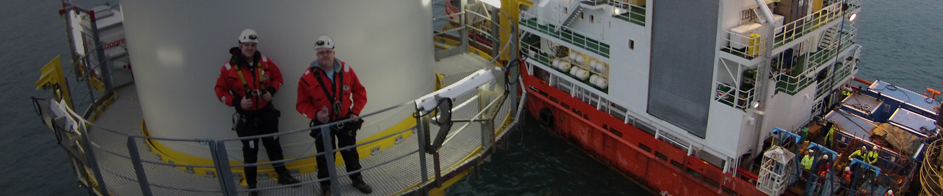 Men on offshore turbine